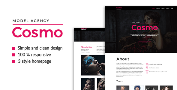 Cosmo — Model Agency HTML5 Template - Portfolio Creative