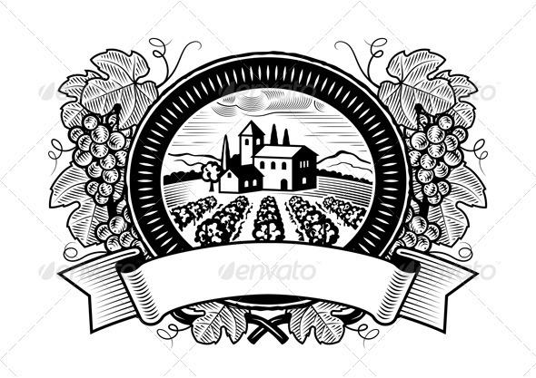 Grapes Harvest Label Black And White - Decorative Symbols Decorative