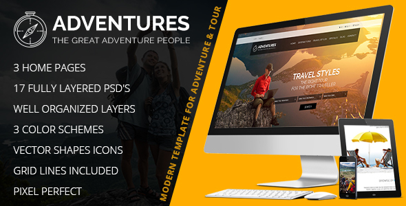 Adventures – Adventures and Tour PSD Template - Travel Retail