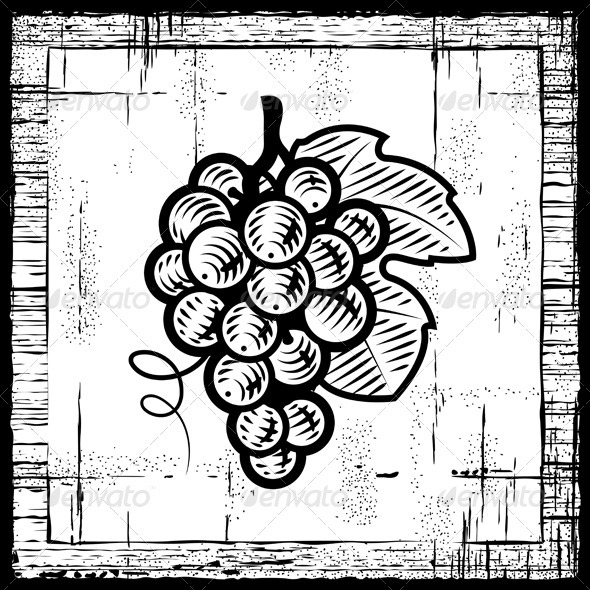 Retro Grapes Bunch Black And White - Food Objects