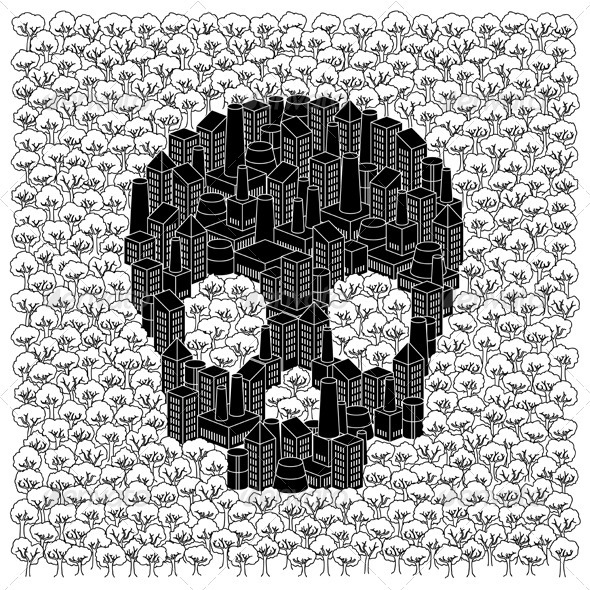 Save The Forests Concept: Skull - Conceptual Vectors