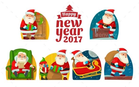 Santa Claus and Elf. Set Flat Vector Illustration - Christmas Seasons/Holidays