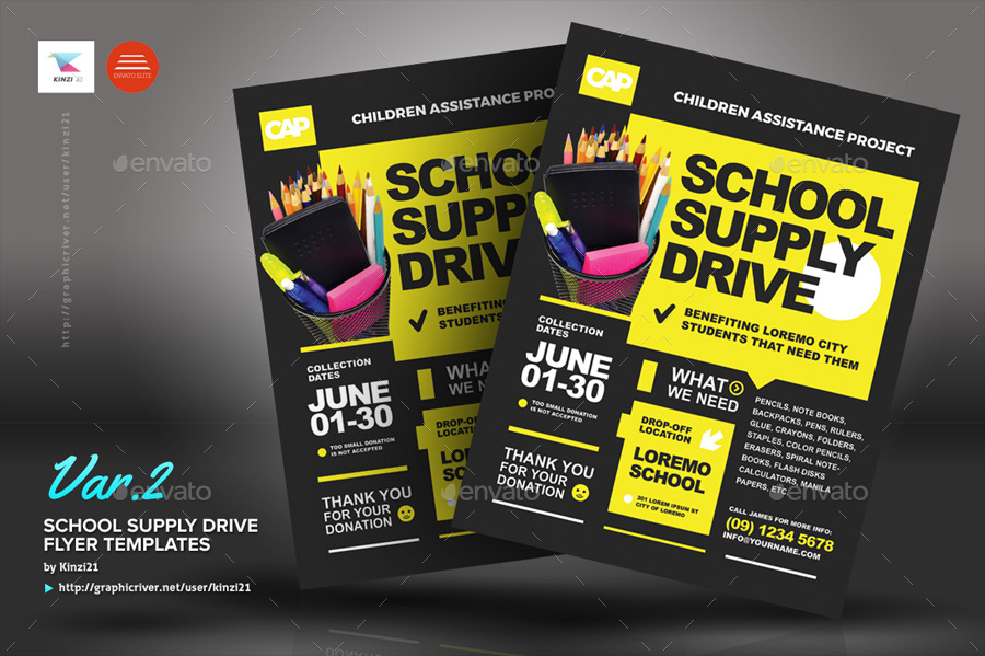 School Supply Drive Flyer Templates By Kinzi21 Graphicriver
