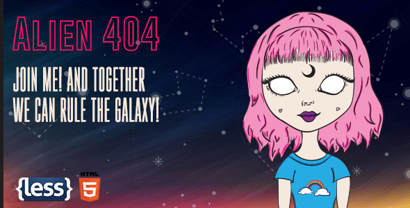 Alien - Animated Error 404 Page - 404 Pages Specialty Pages
