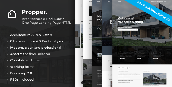 Propper - Responsive Architecture Template - Landing Pages Marketing