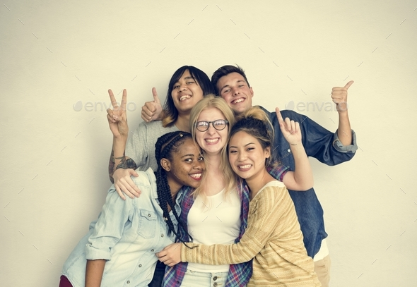 Diversity Students Friends Happiness Pose Concept - Stock Photo - Images
