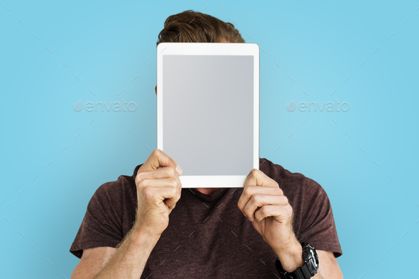 Person Holding Tablet Face Concept - Stock Photo - Images