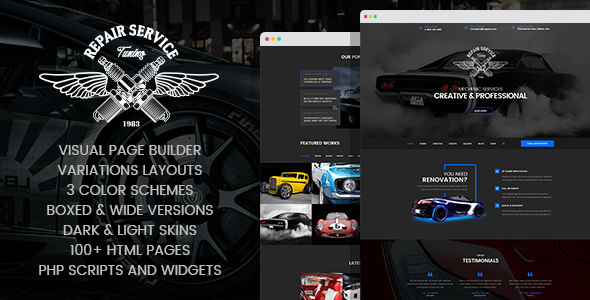 Mechanic – Car Repair, Tuning, Routine Maintenance HTML Template with Visual Builder