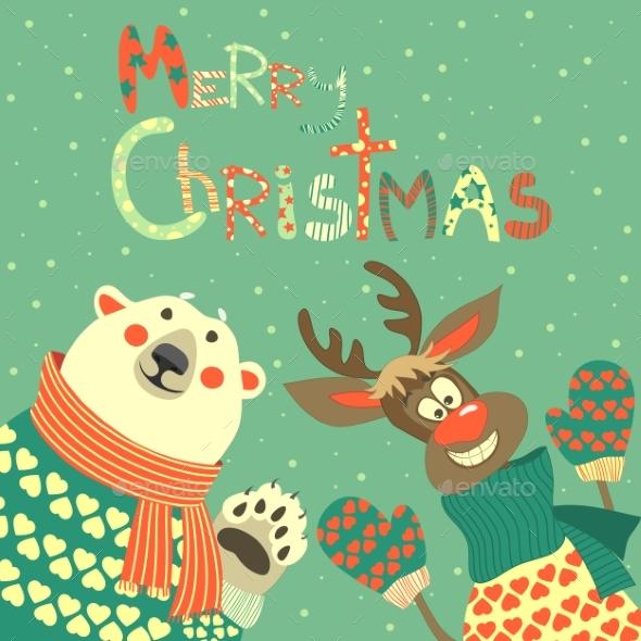 Reindeer and Polar Bear Celebrating Christmas - Christmas Seasons/Holidays
