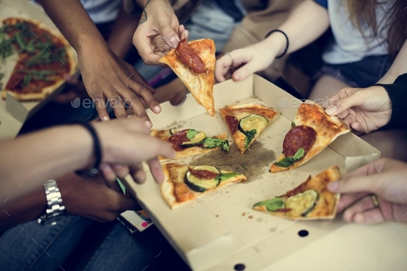 Pizza Sharing Togetherness Friendship Community Concept - Stock Photo - Images