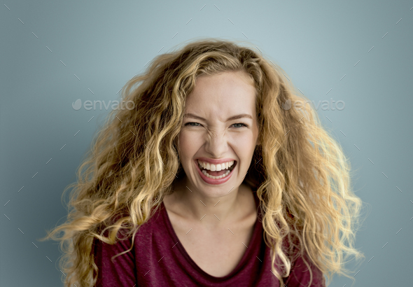 Young Woman Smiling Cheerful Concept - Stock Photo - Images