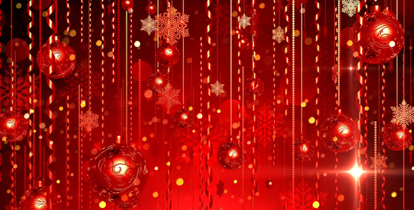 Christmas Red Balls Background By AS 100
