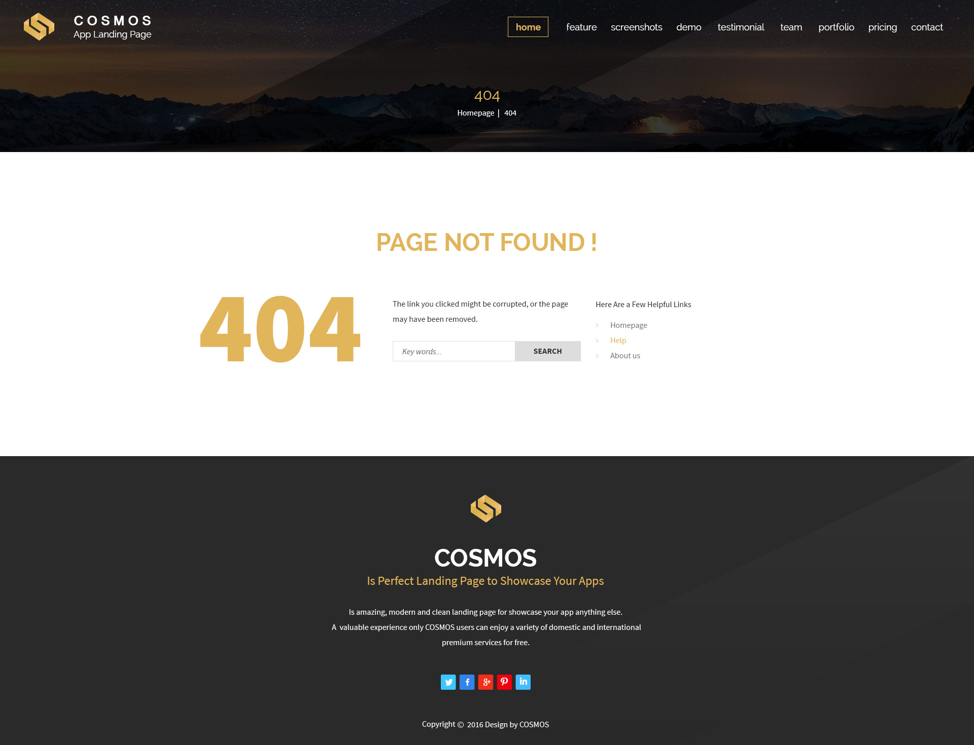 COSMOS - Multi Purpose App Landing Page With Builder