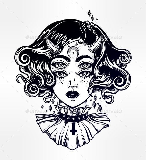 Devil Girl Portrait with Gothic Collar, Four Eyes. - People Characters