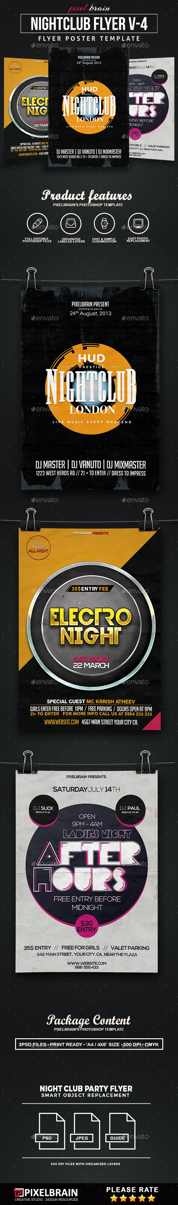 Night Club Party Flyer Template Bundle Vol - 04 - Clubs & Parties Events