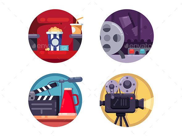 Film Industry Concept - Web Elements Vectors