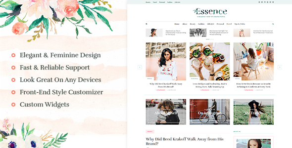 The Essence - A Responsive WordPress Blog Theme - Personal Blog / Magazine