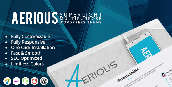Aerious – Super Light Multipurpose WordPress Theme