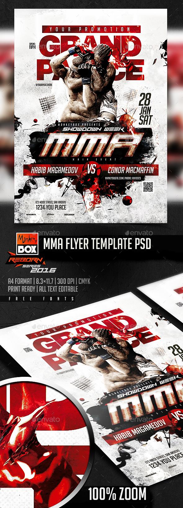 MMA Flyer Template PSD - Flyers Print Templates