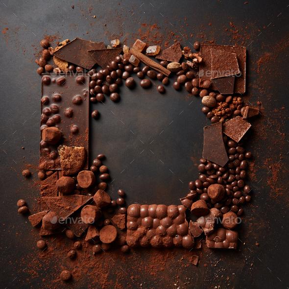 frame of chocolates - Stock Photo - Images