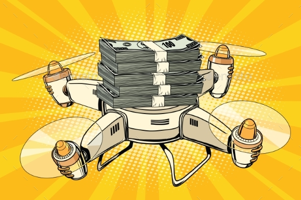 Drone Copter with Bundles of Money - Concepts Business