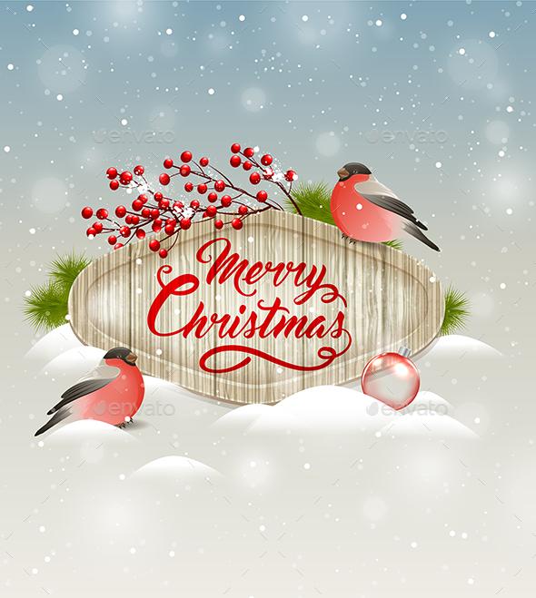Christmas Banner with Bullfinches - Christmas Seasons/Holidays