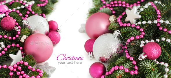 Pink Christmas Ornaments.Silver And Pink Christmas Ornaments Border
