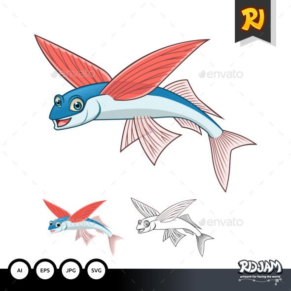 Flying Fish Cartoon Character - Animals Characters