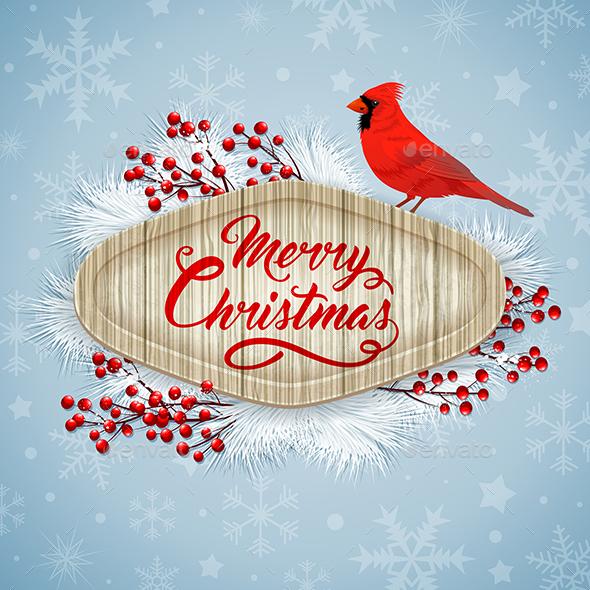 Christmas Card with Cardinal - Christmas Seasons/Holidays