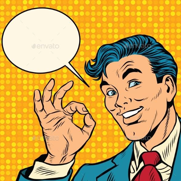 Retro Businessman OK Gesture - Business Conceptual