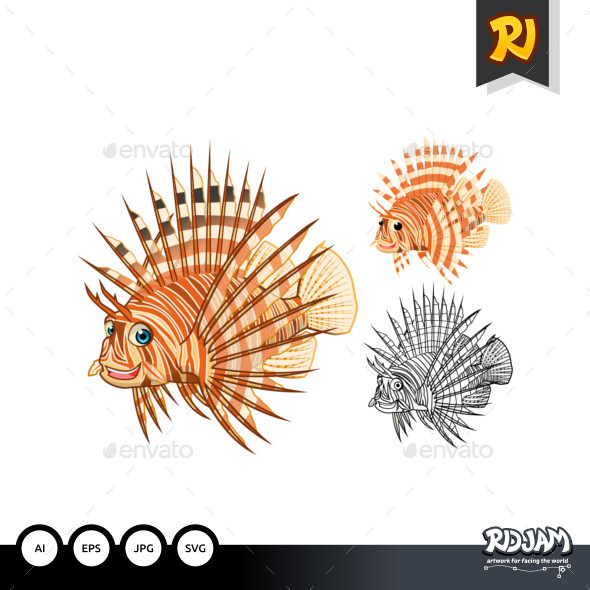 Lion Fish Cartoon Character - Animals Characters