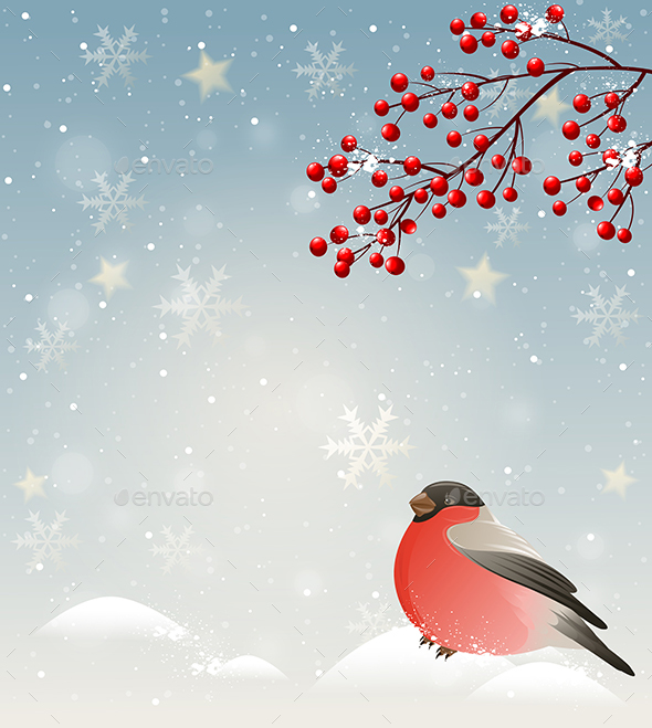 Winter Landscape with Bullfinch - Seasons Nature