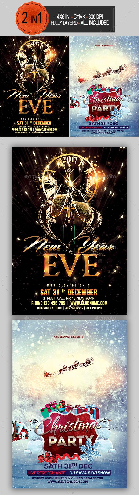 Christmas New Year Flyer Bundle