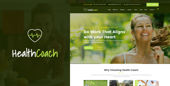 Health Coach - WordPress Theme for Fitness, Health, Personal, Life Coaching Website