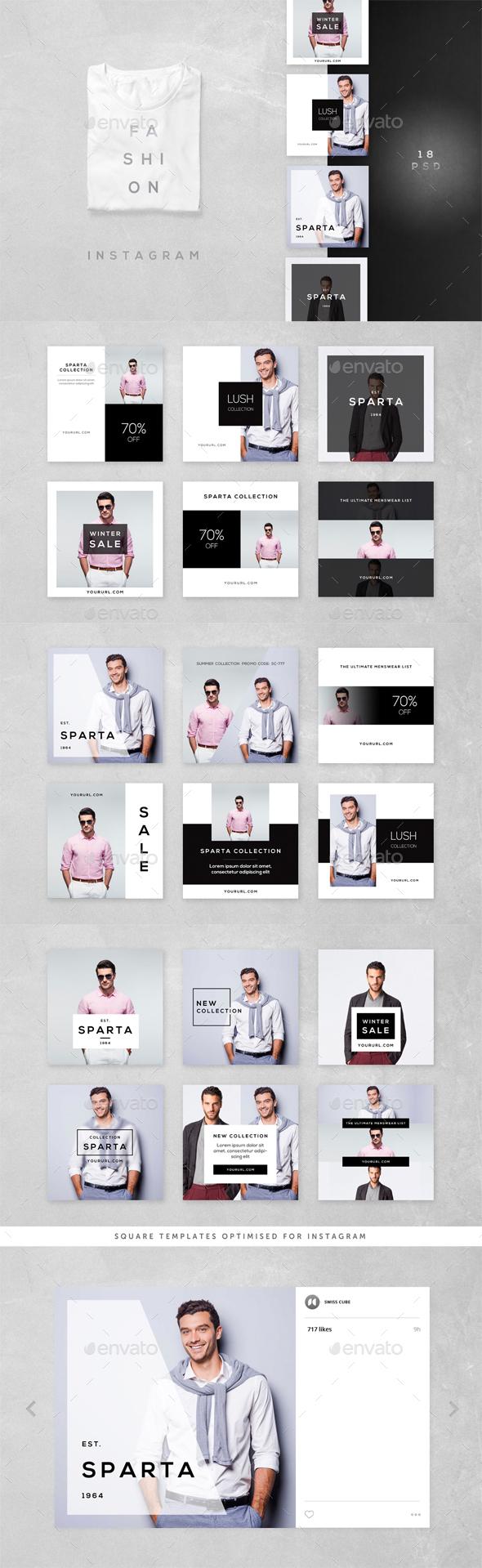 Fashion Instagram - 18 Designs - Social Media Web Elements