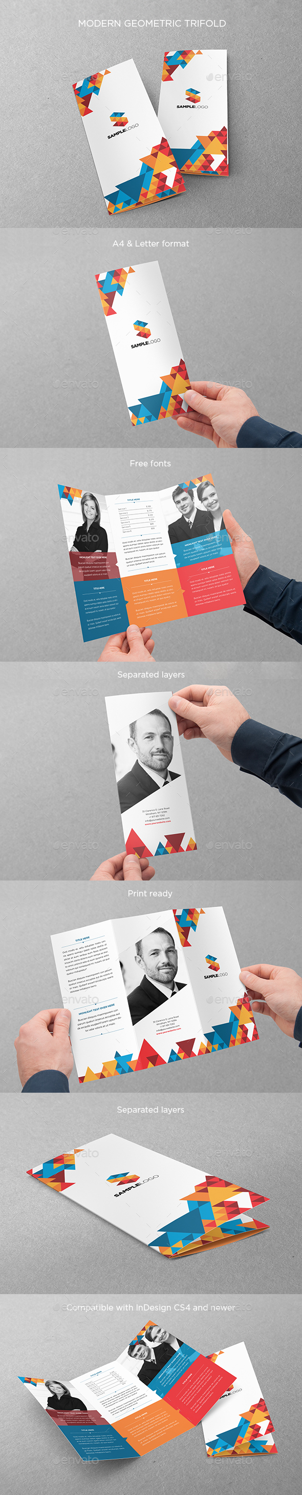 Modern Geometric Trifold - Brochures Print Templates