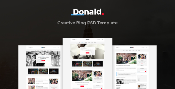 Donald – Creative Blog PSD Template