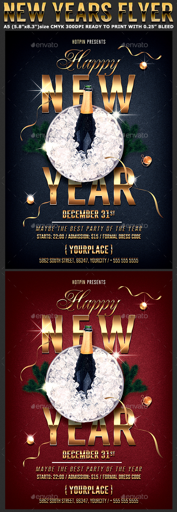 Classy New Year Flyer Template - Clubs & Parties Events