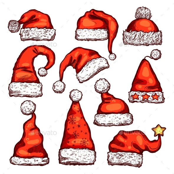 Santa Red Hat Sketch for Christmas Holiday Design - Christmas Seasons/Holidays