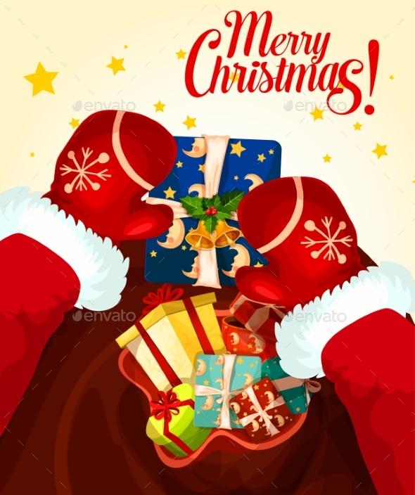 Santa Claus with Gift Bag Christmas Card Design - Christmas Seasons/Holidays