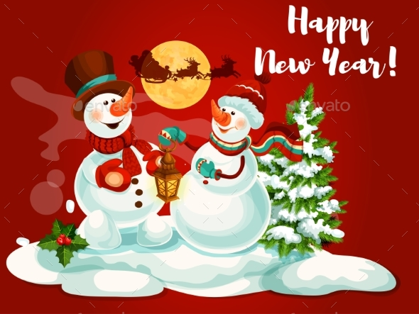 Snowman with Lantern Greeting Card - New Year Seasons/Holidays