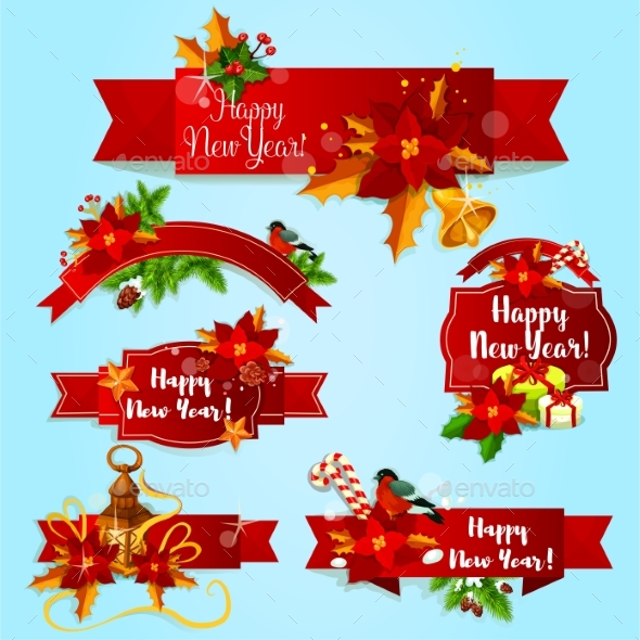 New Year Holiday Red Ribbons and Labels - New Year Seasons/Holidays
