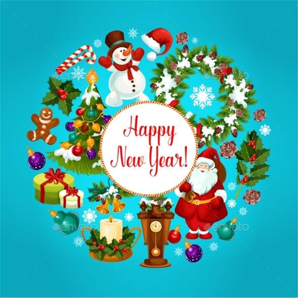 Winter Holidays Celebration Poster Design - New Year Seasons/Holidays