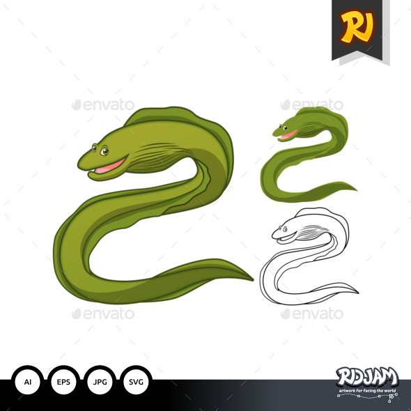 Moray Eel Cartoon Character - Animals Characters