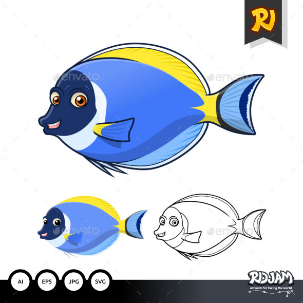 Powder Blue Surgeon Fish Cartoon Character - Animals Characters