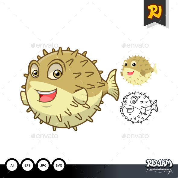 Puffer Fish Cartoon Character - Animals Characters