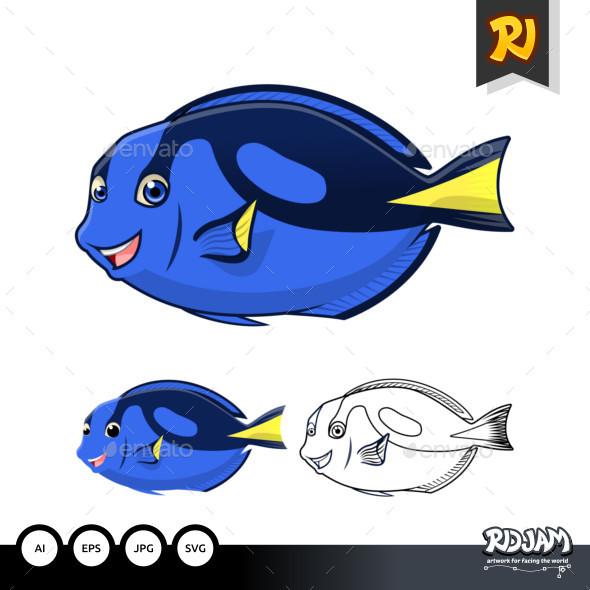 Regal Blue Tang Cartoon Character - Animals Characters