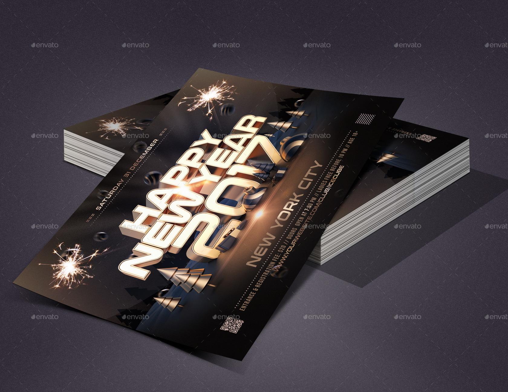 Golden New Year Flyer Template