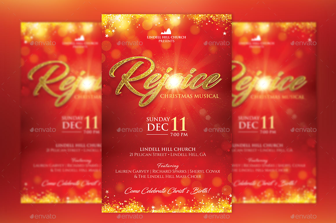 Rejoice Christmas Flyer Poster Template by Godserv2 | GraphicRiver