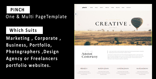 Pinch – One & Multi Page Responsive  Portfolio , Corporate, Business, Creative  & Blog Template